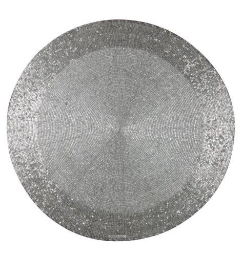 Silver Bead Napperon Table De Fête Ware Noël mariage Décor Dîner Ronde mat plaque