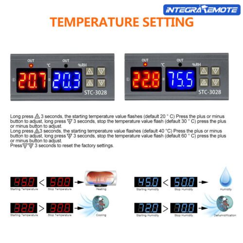 Digital Temperature Humidity Controller STC-3028 AC110-220V 10A Thermostat Probe