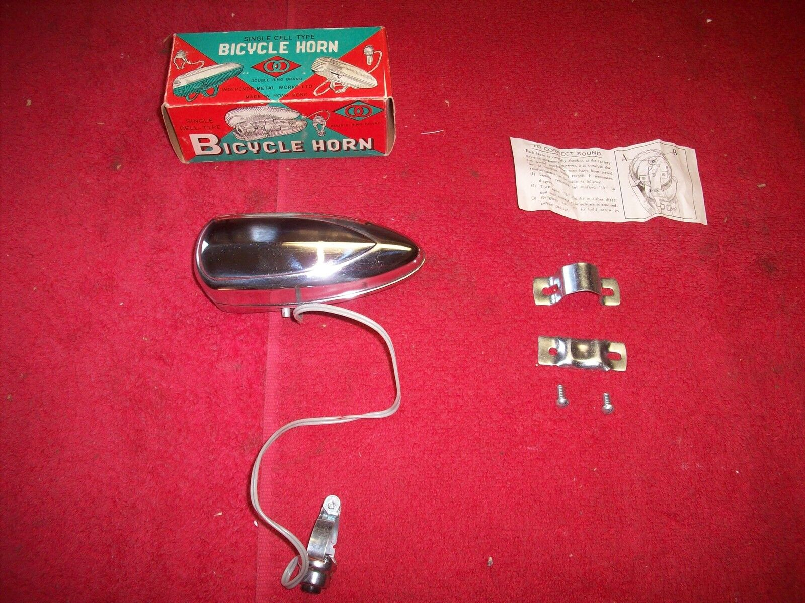 Vintage 1960's Bicycle  Electric Battery Horn Made in Hong Kong new in box  great selection & quick delivery