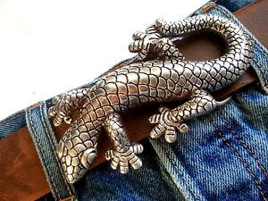 Aufstrebend Gürtelschnalle Wechselschließe Buckles Gekko Reptil Echse Tiere Gold Silber 4 Cm Mangelware