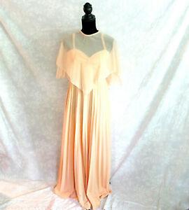 Vintage 1970's Peach Chiffon Prom Dress