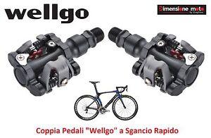 0451-Coppia-Pedali-Wellgo-Alluminio-Sgancio-Rapido-per-Bici-26-28-Corsa-Pista