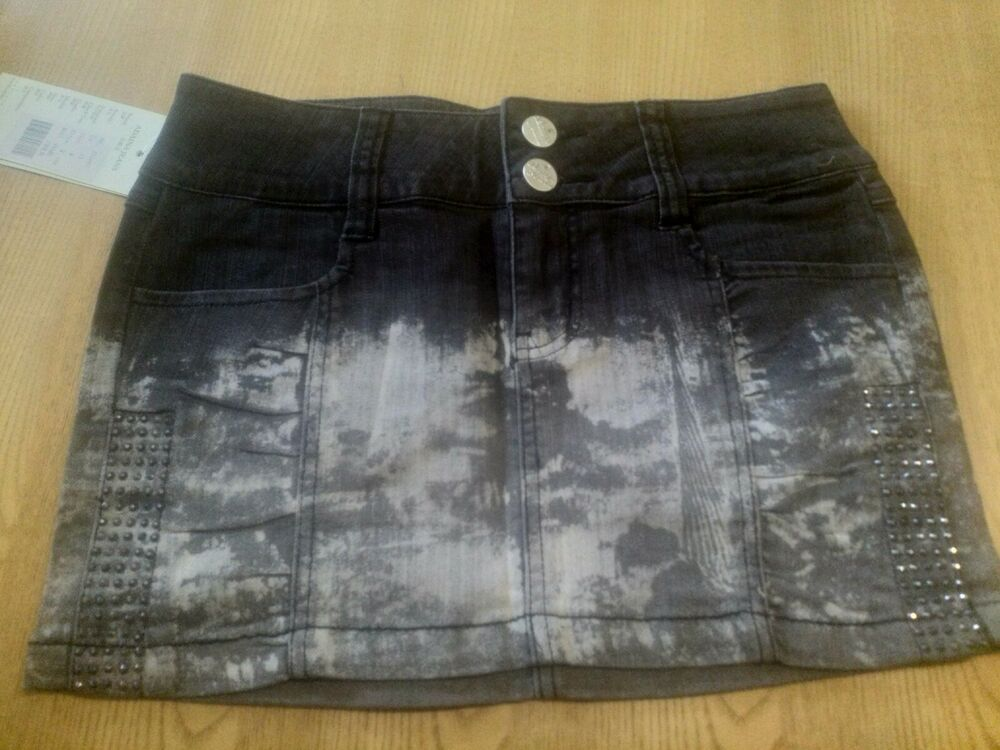 Adaina Jeans Micro Mini Jupe Gris Foncé Acide Ombre Froisse Strass Taille 8