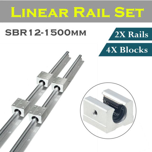 L 4 SBR12UU Block 2X SBR12 1000mm LINEAR RAIL 12mm fully supported SHAFT ROD
