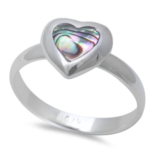 Abalone Shell Heart .925 Sterling Silver Ring SIZES 5-10