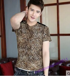 New-Fashion-Mens-T-shirt-V-neck-Cotton-Leopard-Print-Stylish-Breathable-Summer