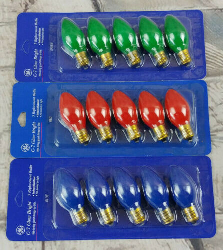 15 NOS GE Glow Bright C-7 Blue Green Red Color 5 Watt Replacement Bulbs
