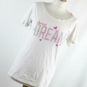Love-to-Lounge-Womens-Size-10-White-Love-Heart-Cotton-Graphic-Tee