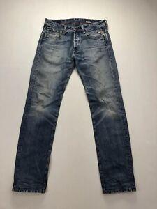 Replay-Newdoc-Straight-Jeans-w32-l34-blau-super-Zustand-Herren