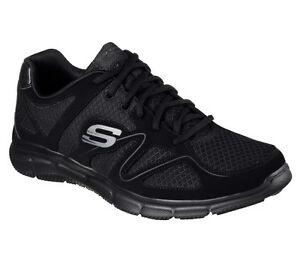Skechers-shoes-W-Wide-Fit-Black-Men-039-s-Comfort-Mesh-Train-Sport-Memory-Foam-58350