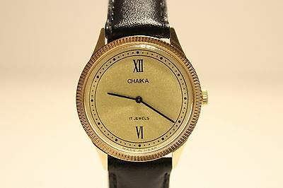 "VINTAGE RARE USSR RUSSIA BEAUTIFUL GOLD PLATED  LADIES WATCH""CHAIKA""/GOLDEN DIAL"