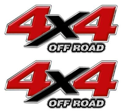 "4x4 OFF ROAD RED DECALS STICKERS Truck Bed Graphics Mk001x4F  10 /""wide Set of 2"