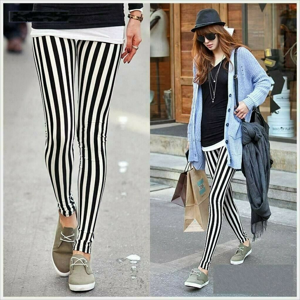 Beetlejuice black white vertical striped haunting smooth sheen leggings