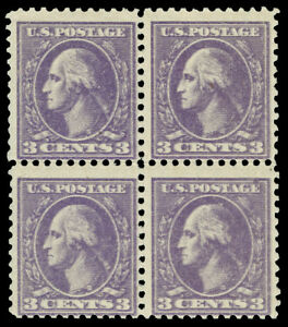 United States Scott 530a 1918 3c Washington Double Impression Block Of 4 Lh/nh Cat $260 Diversified In Packaging