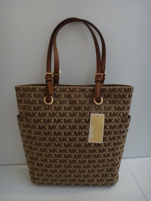 d53a10d3004b MICHAEL KORS Jet Set MD NS Tote Bag Beige MK Signature Jacquard Brown  38H7XTTT2J
