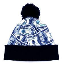 Pom Beanie hat Money Bill Hundred dollar Benjamin face Cuffed Winter skull cap