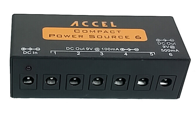 Power Supply for Guitar Effects Pedals Accel Compact Power Source 6 & Cables