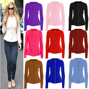 New Ladies Women Stylish Casual Office wear Zip Blazer ...