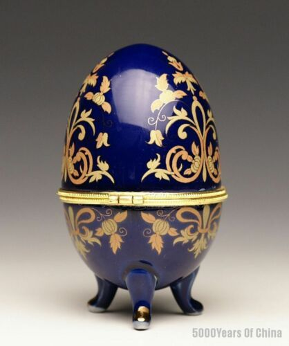 """22# 3.8/"""" Midnightblue Egg Shape Stamp Printing Porcelain Jewelry//Candy Container"""