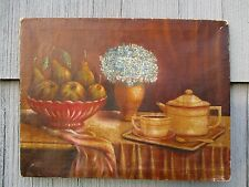 Signed Antique Still Life Oil on Canvas Painting by Mystery Artist