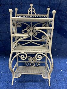Details About White Metal Vintage Dollhouse Furniture Bakers Rack