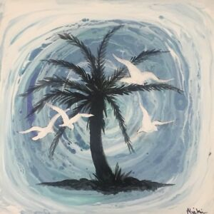 Details about Stunning-One of a Kind Acrylic Art Pour On Tile With Palm  Tree And Birds