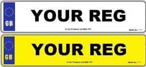 Pair-Standard-GB-MOT-UK-Road-Legal-Car-Reg-Registration-Number-Plates-amp-Fixings