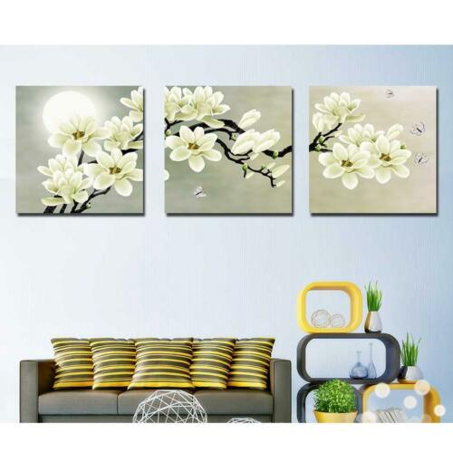 3-panel Canvas Wall Artwork Painting Set White Orchid Living Room Decor 30cm