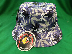 Black-White-Gray-Weed-Leaf-Printed-Purple-Full-Brim-Bucket-Hat-ONE-SIZE-Piranha