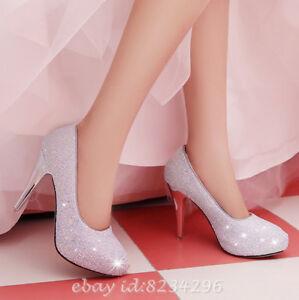 Vogue Heels Braut Schuhe Damen High Zu Details Glitzer Hochzeit Top Abendschuhe Pumps tsQrdh