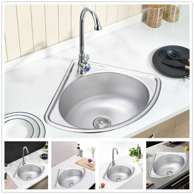 Just Manufacturing Stainless Steel Wall Corner Bathroom Sink With Faucet 10 For Sale Online Ebay