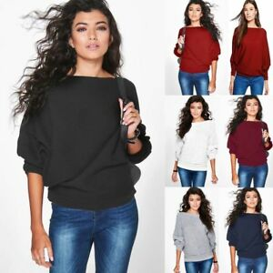 New-Womens-Long-Sleeve-Batwing-Loose-Knitted-Sweater-Ladies-Casual-Jumper-Top-UK