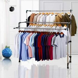 7915c222f135 Details about Clothes Laundry Drying Rack Line Indoor Outdoor 3 Rods  Rolling Portable Folding