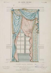 LAROCHE-Glasfenster-mit-Draperie-Croisee-drapee-fantaisie-19-Jhd-Farblith