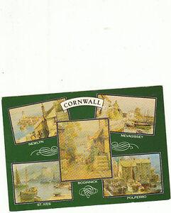 unused-Postcard-Cornwall-Newlyn-St-Ives-Boddinick-Mevagissey-Polperrro