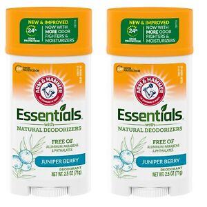 (2 Pack) NEW Arm & Hammer Essentials Solid Deodorant Clean/Juniper Berry 2.50 Oz