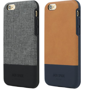 low priced 6fa6b 5117b Details about Jack Spade New York Case For iPhone 6S PLUS & 6 PLUS Gray  Jeans & Brown Leather