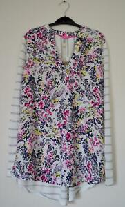 NEW-EX-JOULES-UK-8-10-12-14-CREAM-PINK-FLORAL-STRIPE-PART-JERSEY-BLOUSE-TOP