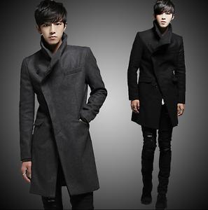 Wool Blend Stand Collar Coat Slim Fit Jacket Men's Mid Length Parkas Asymmetric