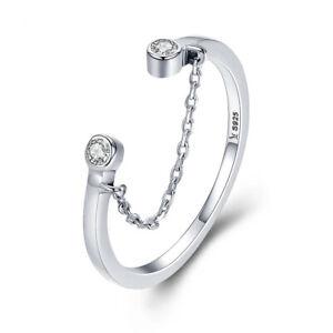 925 Silber Ring mit Kette Zirkonia verstellbar