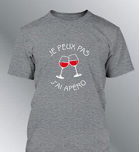0f421bb46 Détails sur Tee shirt personnalise JE PEUX PAS j'ai apéro humour homme apero