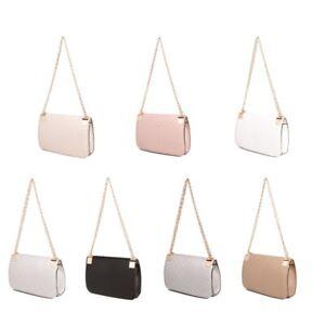 Women Designer Inspired Stripe Logo Cross Body Shoulder Side Bag Chain Strap UK
