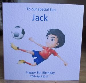 Image Is Loading Personalised Handmade Football Boy Birthday Card Son Grandson
