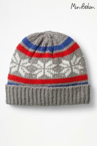 Boys Grey Fair Isle Knitted Beanie Hat Mini Boden BNWT
