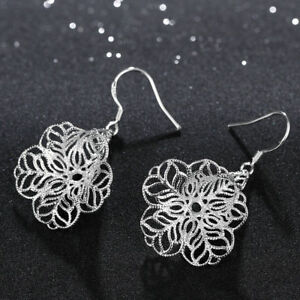 Unique-amp-Elegant-Pure-925-Sterling-Silver-Trumpet-Flower-1-5-034-Hook-Earrings