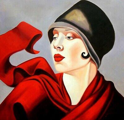 Portrait Art Deco De Femme Avec Chapeau D Apres Lempicka Tableau Peinture Hui Ebay