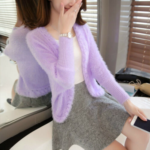 Donna Coat Open Casual Faux Fluffy Capispalla Mohair Jacket Sweater Cardigan Knit rxr60nU