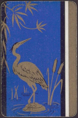 Playing Cards Single Card Old Art Deco Lacquer Style CRANE HERON STORK BIRD
