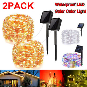 2Pack-LED-Solar-Power-Fairy-Lights-String-Lamps-Party-Xmas-Decor-Garden-Outdoor