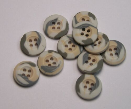 8pc 18mm Cream Grey White Camouflage Cardigan Trouser Shirt Sewing Buttons 0202